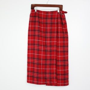 Liz Claiborn Red Plaid Midi Skirt Sz 10P
